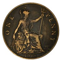 1918 Great Britain 1 Penny XF #