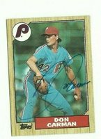 Don Carman 1987 Topps signed auto autographed card Phillies
