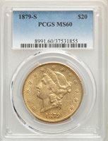 1879-S US Gold $20 Liberty Head Double Eagle - PCGS MS60