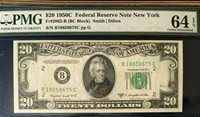 1950C $20 FEDERAL RESERVE NOTE NEW YORK, PMG64 EPQ CHOICE UNCIRCULATED 3828