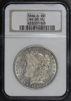1886-O $1 MS60PL NGC
