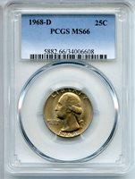 1968-D Washington Quarter - PCGS MS 66 Certified - Denver Mint - AP306