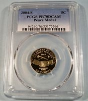 2004-S 5c PCGS PR70DCAM JEFFERSON PEACE MEDAL NICKEL PROOF DEEP CAMEO PR 70 DC