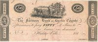 Hulme Ville Farmers Bank of Bucks County 181- $50 Unl 164-7 185-G14 -- Trimmed through the frame lines at the top & bottom, good at the ends; a remainder by W Harrison Unc+