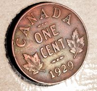 1929 Canada Penny - Bright Colourful Toning INV#H-223