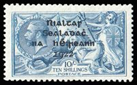 """Lot 682 Ireland, 1922, Thom overprint on George V """"Seahorse"""", 10s dull gray blue, major retouch (Scott 38 var.), plate 5A, R2/1, showing distinct doubling in """"GS"""" of SHILLINGS and """"GE"""" of POSTAGE, o.g., lightly hinged, Fine to Very Fine. MacDonnell Whyte T41b, €9000, with 1987 MacDonell Whyte certificate. SG 46 var. Hibernian T41b. Hibernian €7,000 ($7,850). Estimate $2,000 - 3,000."""