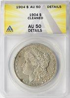 1904 $1 Morgan Dollar ANACS AU50 Details Cleaned