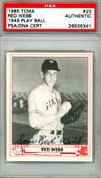 """Sam """"Red"""" Webb Autographed 1985 Play Ball 1947 Reprint Card Giants PSA 26926341"""