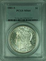 1881-S Morgan Silver Dollar Coin $1 PCGS MS64 Undergraded (32 M)