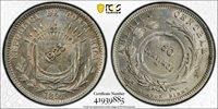 COSTA RICA SILVER 50 CENTIMOS COIN 1923 / 1893 YEAR KM#159 COUNTERMARK PCGS MS63