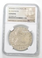 Genuine 1780 Spanish Colonial 8 Reales El Cazador - NGC Shipwreck Certified *532