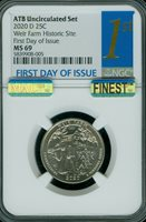 2020-D WEIR FARM PARKS QUARTER NGC MS69 1st DAY OF ISSUE MAC FINEST SPOTLESS