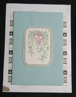 """YOUR WEDDING Two Bells w/ Lace Border & Flowers 7x9"""" Greeting Card Art #WC7407"""