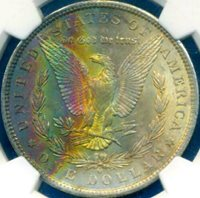 1883-O $1 Morgan ((Beautiful RAINBOW Toning)) NGC MS-64* (DR)