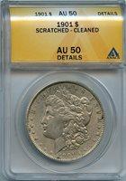 1901 $1 ANACS AU 50 (AU, ALMOST UNCIRCULATED) MORGAN SILVER DOLLAR