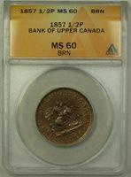 1857 Bank of Upper Canada 1/2p Half Penny Token ANACS MS-60 BN (Better Coin)