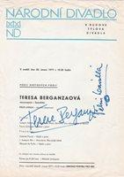 TERESA BERGANZA Mezzo-Soprano signed recital program, Estates Theater, 1977