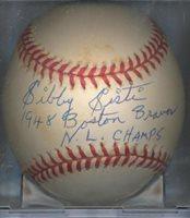Sibby Sisti 1948 Boston Braves Autographed Signed ONL Baseball COA DECEASED