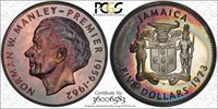 1973 JAMAICA FIVE SILVER DOLLARS PCGS PR67 AMAZING RAINBOW TONING! WOW!
