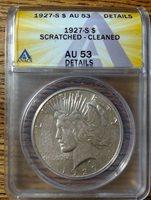 1927 S Certified Peace Dollar ANACS AU53 Details