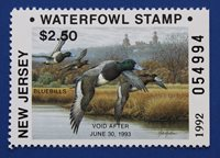 U.S. (NJ09h) 1992 New Jersey State Duck Stamp (MNH) hunter type