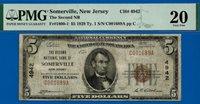 Near TOP POP - 1929 $5 National (( 2nd Finest - Summerville, NJ )) PMG 20 # 1689