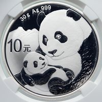 2019 CHINA PANDA MOM w CUB Genuine Silver 10 Yuan Chinese Coin NGC MS70 i85717
