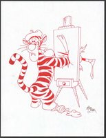 Winnie-the-Pooh Disney Red Ink Drawing Concept Art Tigger Painter by Mike Royer