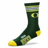 For Bare Feet Oregon Ducks 4-Stripe Deuce Socks 10-13 Shoe Size FREE SHIPPING