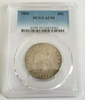 1860 50c Seated Liberty Half Dollar PCGS AU50