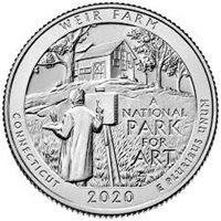 "National Park Quarter 2020 S Weir Farm (CT) Proof Clad <span class=""h1""></span> National Park Quarter 2020S Weir Farm (CT) Gem Proof Clad"