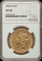 1865-S $20 Pop (139/890), GOLD AU50 NGC
