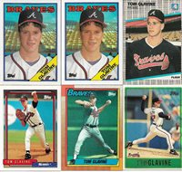 Tom Glavine 9 Card Lot with 2 1988 Topps Rookies NM Condition