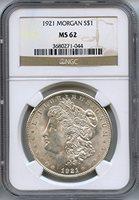 1921 Morgan Dollar MS-62 NGC