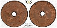 CONGO Free State 1887 10 Centime, PCGS MS63RB