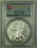 2014 American FLAG Silver Eagle $1 ONE DOLLAR PCGS MS 70 First Strike MS70 GEM