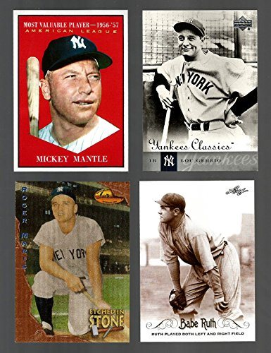 New York Yankees Baseball Card Lot 4 Babe Ruth 2016 Leaf Roger Maris 1994 Ted Williams Card Co Mickey Mantle 1961 Mvp Reprint Lou Gehrig 2004 Upper