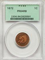 1872 1C PR64RB PCGS