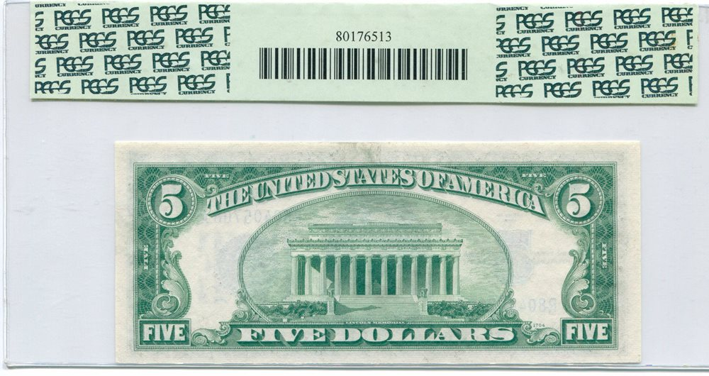 1934 D 5 Silver Certificate Wide I Variety Pcgs Very C