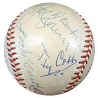 1950's Hall Of Fame Induction Ceremony Signed Baseball With 12 Signatures Including Ty Cobb, Frank Home Run Baker, George Sisler, Joe DiMaggio, & Pie Traynor - JSA Authentic - MLB Baseballs