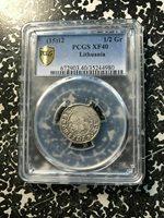 (15)12 Lithuania 1/2 Groschen PCGS XF40 Lot#G320 Silver!