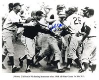 Johnny Callison (Phillies - D. 2006) Autographed/ Original Signed 8x10 Action-photo Showing Celebration After His 9th Inning Homerun to Win the 1964 All-Star Game for the National League