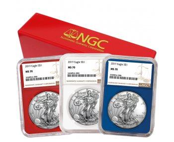 W $1 American Silver Eagle NGC MS70 FDI First Label Blue Core 2019