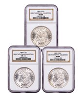 3-Coin Set - 1885-O Morgan Silver Dollar From the Great Montana Collection NGC MS64 Toned CPCR 3128