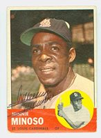 Minnie Minoso AUTOGRAPH d.15 1963 Topps #190 St. Louis Cardinals CARD IS POOR, HEAVY CREASING