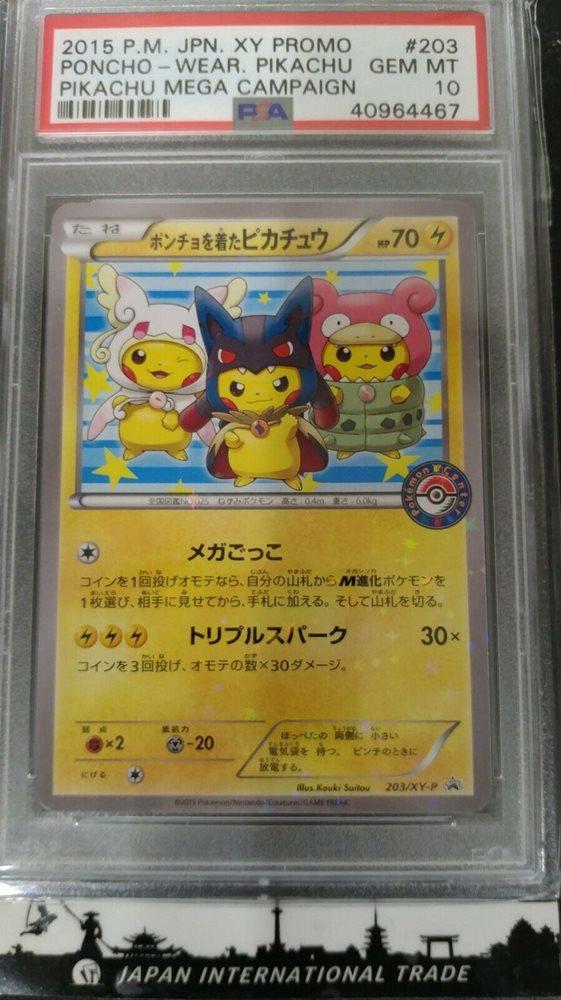 Psa 10 Pokemon Card Japanese Pikachu Holo Poncho Mega Wear Cmpaign 2015 203 Xy P