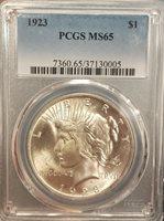1923 Peace Dollar PCGS MS65