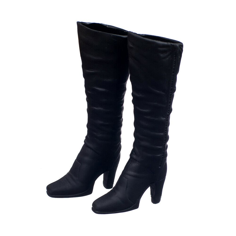 1//6 Black High Heel Shoes Zip Boots for   12/'/' Action Figure Model Toy