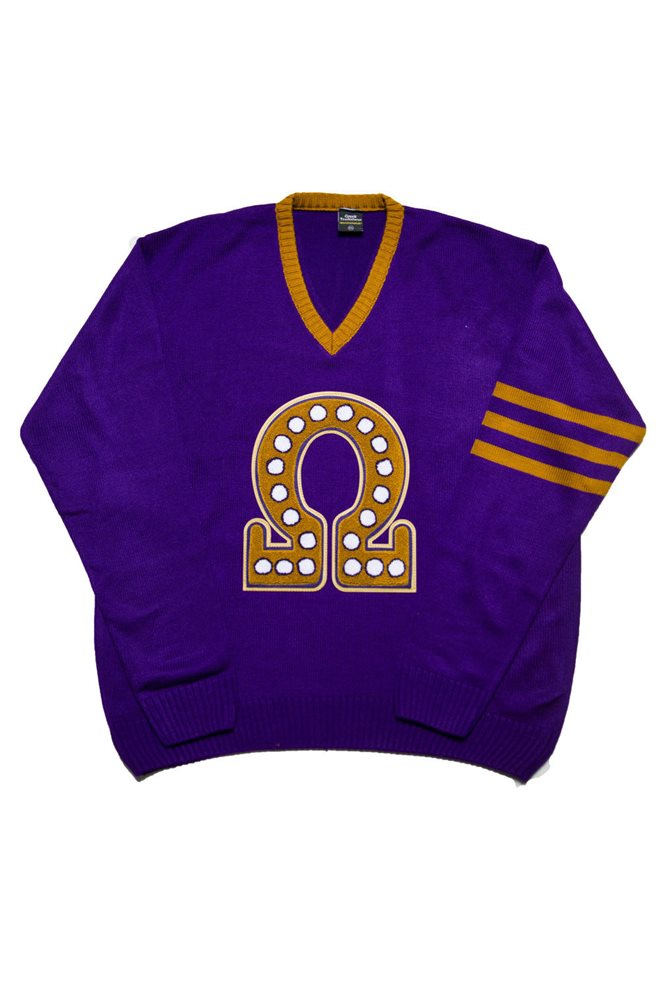Omega Psi Phi Old School Vneck Sweater With Omega Symbo