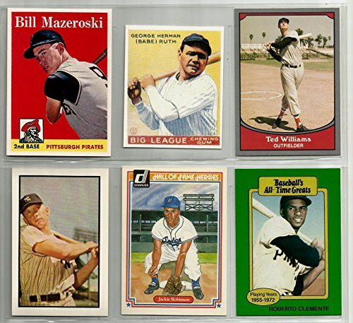 Babe Ruth 1933 Mickey Mantle 1953 Ted Williams Bill Mazeroski 1958 Jackie Robinson Roberto Clemente Reprint Baseball Card Lot